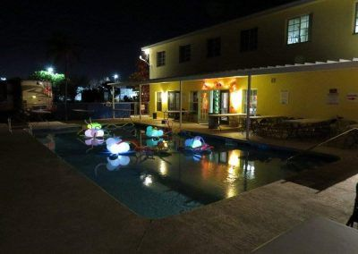 Pool at night port St Lucie RV Resort